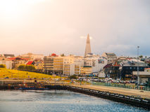 Reykjavik cityscape just before storm with dramatic clouds, Iceland Royalty Free Stock Photos