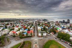 Reykjavik cityspace. With black clouds royalty free stock images