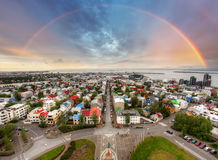 Reykjavik cityspace with rainbow Stock Photo