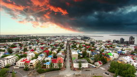 Reykjavik cityspace, time lapse at sunset Stock Image