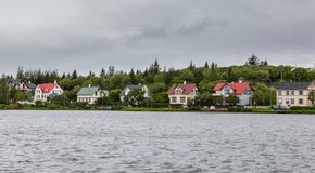 Reykjavik colorful houses near pond, Iceland Royalty Free Stock Image