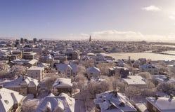 Reykjavik in de winter Stock Afbeelding