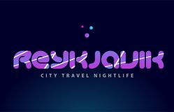 Reykjavik european capital word text typography design. Reykjavik logo text word typography design for european capital city with colored texture suitable for a Stock Images