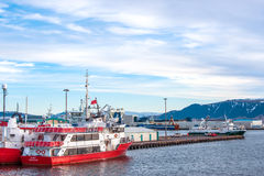 Reykjavik harbor with boats sailing for whale tours Royalty Free Stock Photos