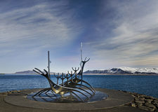 Reykjavik harbour with sculpture Royalty Free Stock Images