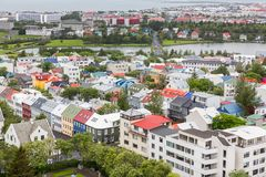 Reykjavik houses aerial view and pond, Iceland Royalty Free Stock Photography