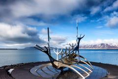 The Sun Voyager Solfar sculpture by Jon Gunnar Arnason on the Royalty Free Stock Images