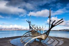 The Sun Voyager Solfar sculpture by Jon Gunnar Arnason on the. Reykjavik, Iceland - April 1, 2017: The Sun Voyager Solfar sculpture by Jon Gunnar Arnason on the Royalty Free Stock Photos