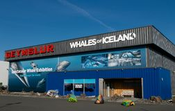 Whales of Iceland exhibition. Reykjavik, Iceland, August 22, 2017: The exterior of the building where the Whales of Iceland exhibition is held Royalty Free Stock Photos