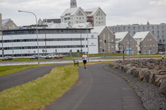 REYKJAVIK, ICELAND-AUGUST 4: Town streets 4, 2013 in Reykjavik, Royalty Free Stock Photography