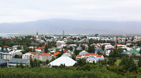 Reykjavik, Iceland cityspace aerial panorama view. Summer in Iceland royalty free stock photos