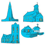Reykjavik Iceland Colored Landmarks. Scalable Vector Monuments. Filled with Blue Shape and Yellow Highlights Royalty Free Stock Photography
