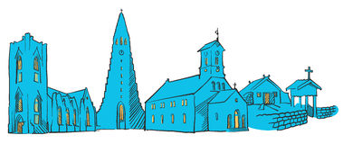 Reykjavik Iceland Colored Panorama. Filled with Blue Shape and Yellow Highlights. Scalable Urban Cityscape Vector Illustration Royalty Free Stock Photography