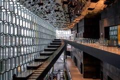 REYKJAVIK/ICELAND - 4 DE FEVEREIRO: Opinião interior Harpa Concert imagens de stock royalty free