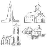 Reykjavik Iceland Famous Buildings. Monochrome Outlined Travel Landmarks, Scalable Vector Illustration Stock Image