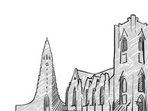 Reykjavik, Iceland famous Travel Sketch. Lineart drawing by hand. Greeting card design, vector illustration Royalty Free Stock Images