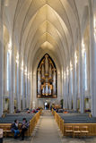 REYKJAVIK/ICELAND - FEB 04 : Interior View of the Hallgrimskirkja Church in Reykjavik Iceland on Feb 04, 2016. Unidentified people stock photos
