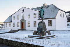 REYKJAVIK/ICELAND - FEB 05: Rzędu dom, Pierwszorzędny minister zdjęcia royalty free