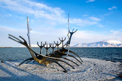 REYKJAVIK/ICELAND - FEB 05 : Sun Voyager in Reykjavik Iceland on. Feb 05, 2016 royalty free stock photo
