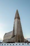 REYKJAVIK/ICELAND - FEB 05: Widok Hallgrimskirkja kościół Zdjęcie Stock