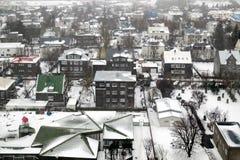 REYKJAVIK/ICELAND - 4. FEBRUAR: Ansicht über Reykjavik von Hallgrimsk stockbilder