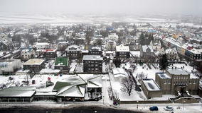 REYKJAVIK/ICELAND - 4. FEBRUAR: Ansicht über Reykjavik von Hallgrimsk stockfotografie