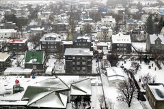 REYKJAVIK/ICELAND - 04 FEBRUARI: Mening over Reykjavik van Hallgrimsk stock afbeeldingen