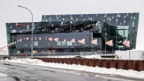REYKJAVIK/ICELAND - FEBRUARI 04: Yttre sikt av Harpa Concert Royaltyfri Bild