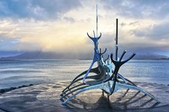 Sun voyager under a stormy sky royalty free stock photo