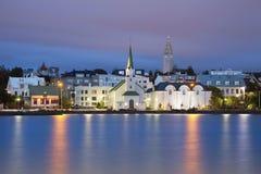 Reykjavik, Iceland. Image of Reykjavik, capital city of Iceland, during twilight blue hour stock photos