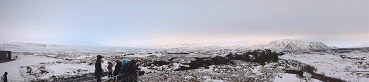 Reykjavik, Iceland - January 2016: Hiking in Pingvellir National Park in Iceland Royalty Free Stock Image