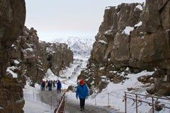 Reykjavik, Iceland - January 2016: Hiking in Pingvellir National Park in Iceland Royalty Free Stock Photos