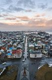 Reykjavik, Iceland - 22 January 2016 : A view from the tower of Hallgrimskirkja church, a popular tourists destination. A view from the tower of Hallgrimskirkja Stock Photo