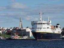 REYKJAVIK, ICELAND-JULY 29: Krajowy Geograficzny badacza leavin Fotografia Stock