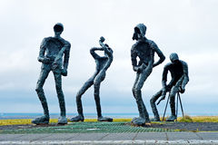 Reykjavik, Iceland - July, 2008: Modern sculpture of jazz band royalty free stock photos