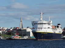 REYKJAVIK, ICELAND-JULY 29 : National Geographic. Explorer leaving the harbor  on July 29, 2014 in Reykjavik Stock Photography