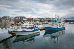 REYKJAVIK, ICELAND-JULY 25: Old harbor 25, 2013 in Reykjavik, Ic Stock Photos