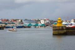 REYKJAVIK, ICELAND-JULY 25: Old harbor 25, 2013 in Reykjavik, Ic Royalty Free Stock Photo