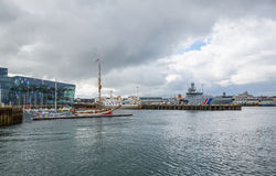REYKJAVIK, ICELAND-JULY 25: Old harbor 25, 2013 in Reykjavik, Ic Royalty Free Stock Photos