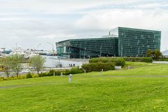 Reykjavik, Iceland, May 2014: An exterior view of the Harpa Concert Hall and Conference Centre Stock Photos