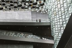 Reykjavik, Iceland, May 2014: An interior view of the Harpa Concert Hall and Conference Centre Royalty Free Stock Photos