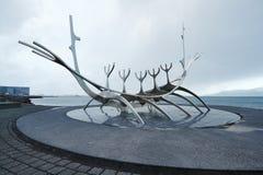 The Sun Voyager, Reykjavik, Iceland. REYKJAVIK, ICELAND - MAY 05, 2018: Sun Voyager, a metal sculpture on the shorlineof Reykjavik, designed by Jon Gunnar Stock Photo