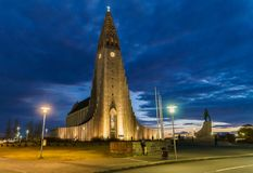 REYKJAVIK,ICELAND/NOVEMBER 01,2017: Hallgrimskirkja Cathedral an. D monument of Leif Erikson, who was actually the first known European sailor to land in North royalty free stock photography