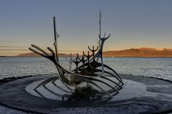 Solfar or Sun Voyager monument in Reykjavik, Iceland royalty free stock photography