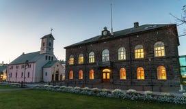 REYKJAVIK ICELAND/OCTOBER 31,2017: Byggnad av den isländska medeltalen Arkivbilder
