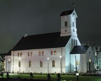 REYKJAVIK, ICELAND/OCTOBER 31,2017: Lutheran de Domkirkjan-Reykjavik Fotografía de archivo