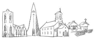 Reykjavik Iceland Panorama Sketch. Monochrome Urban Cityscape Vector Artprint Royalty Free Stock Images