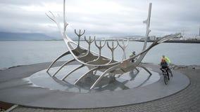 Reykjavik, Iceland, The sculpture Sun Voyager stock footage