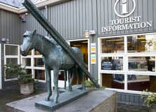 Reykjavik, Iceland, September 2018. Statue of a bronze horse near the building of the information tourist center in Reykjavik. royalty free stock photography