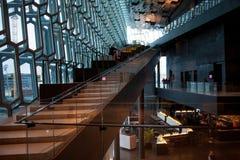 REYKJAVIK ICELAND, SIERPIEŃ, - 27, 2017: Harpa, filharmonia i centrum konferencyjne w Reykjavik, Obraz Stock